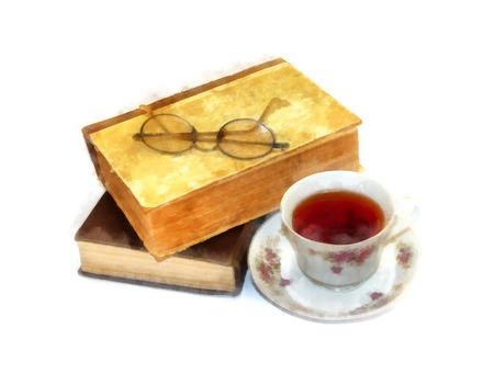 Glasses  lie on old books in a shabby rumpled cover next to a cup of tea watercolor still life on paper