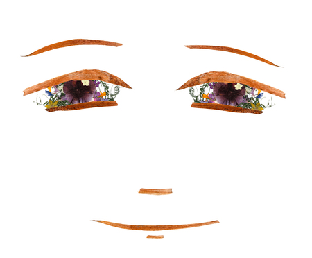 application,tired girl face made of dried flowers and long stiff brown iris leaves Stock Photo