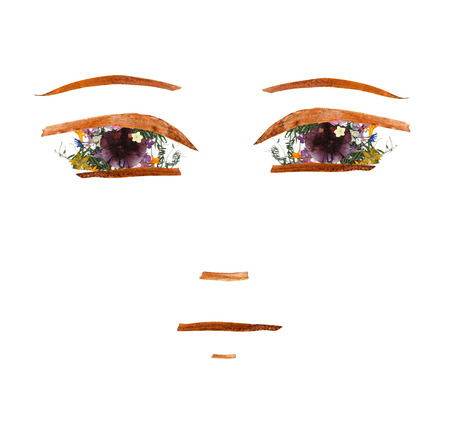 application, sad or confused girl face made of dried flowers and long stiff brown iris leaves Stock Photo