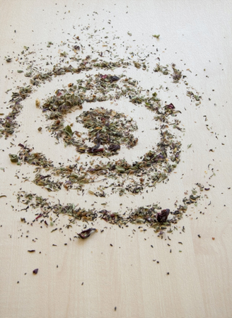 spilled in the form of a spiral dried  leaves illustration, imitation of oil painting