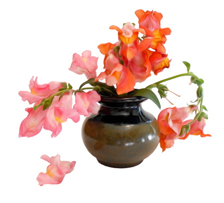Oil draw illustration of small bouquet of multi-colored snapdragons in a ceramic vase.Photo manipulation