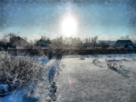 冬の澄んだ夕日、雪に覆われた素朴な庭園のある田舎の風景。木の枝を凍らせた。背景には小さな家が見られます。写真操作イラスト