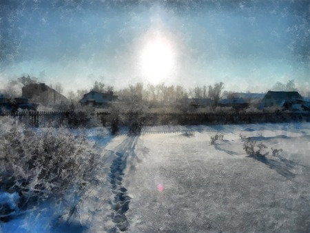 A winter clear sunset, a rural landscape with a rustic garden covered with snow. frozen branches of trees. in the background are seen small houses. Photo manipulation illustration 写真素材