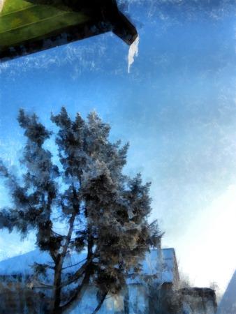 冬の晴れた日、雪に覆われた素朴な庭園と田舎の風景。木の枝を凍らせた。写真操作イラスト 写真素材