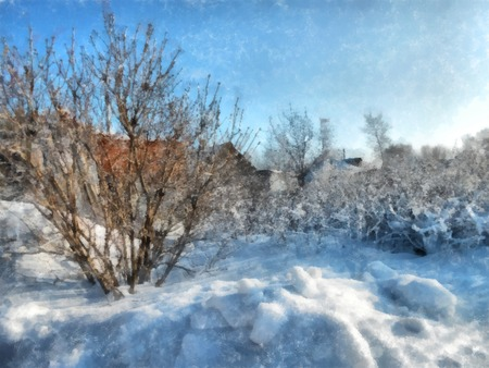 A winter clear day, a rural landscape with a rustic garden covered with snow. frozen branches of trees. in the background are seen small houses. Photo manipulation illustration
