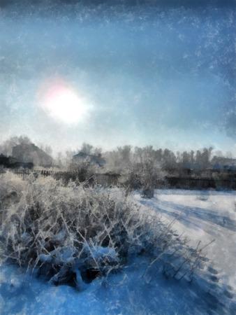 冬の晴れた日、雪に覆われた素朴な庭園と田舎の風景。木の枝を凍らせた。背景には小さな家が見られます。写真操作イラスト 写真素材