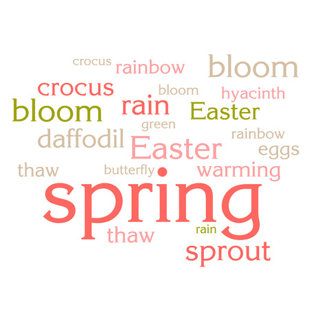 cloud of words list about spring season