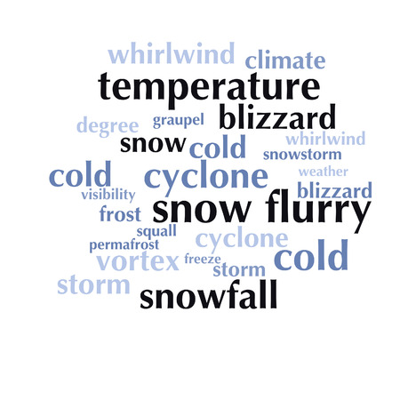 cloud of words list about winter season