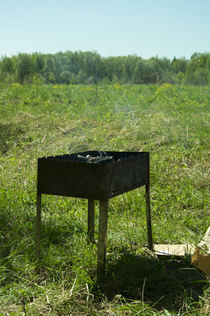 barbecue on the grill in the summer outdoors, ignition of coals