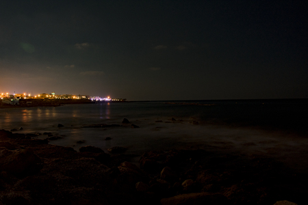 Cyprus, Paphos, night city panorama in lights, coastline and sea