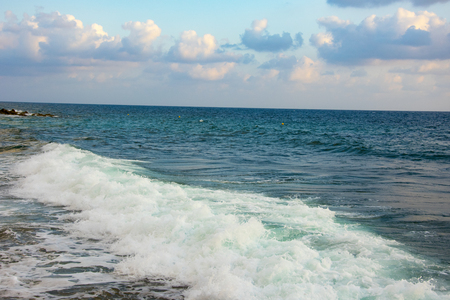 sea waves amongst rocky beach, Cyprus, Paphos,