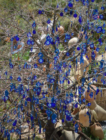 A tree full with amulets  Stock Photo