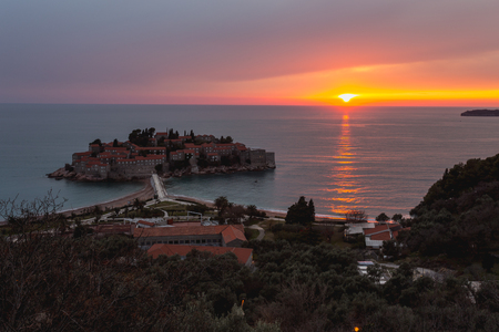 setting  sun: Setting sun near Sveti Stefan island, Montenegro