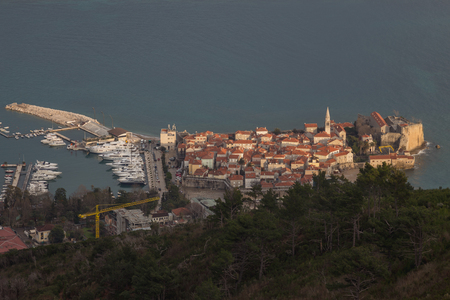 old town: Old town of Budva seen from mountains Stock Photo