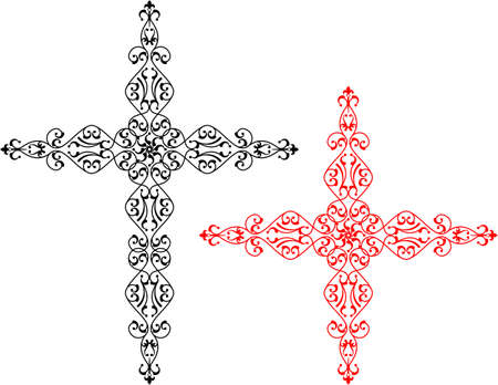 Cross illustration with curves and swirls design. Vectores