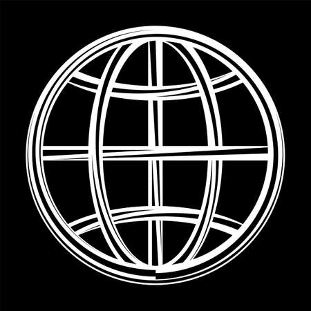 Globe Icon Calligraphic Vector Art Illustration.