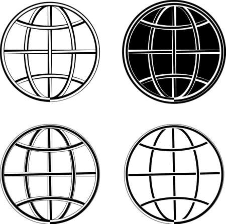 Globe Icon Collection Vector Art Illustration