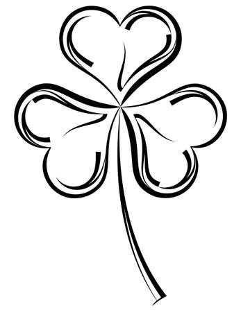 Shamrock Three Leaf Clover Calligraphic Vector Art Illustration Ilustracja