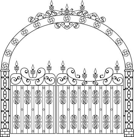 Wrought Iron Gate With Arch Vector Art Illustration Vettoriali