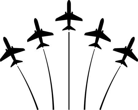 Airplane Flying Formation, Air Show Display vector illustration