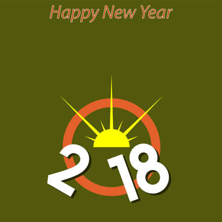 Two Thousand Eighteen Design, New Year Vector Art Illustration