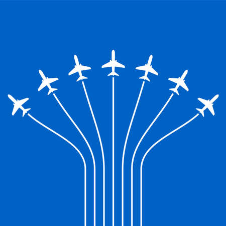 Airplane Flying Formation In Blue Sky, Air Show Display, The Disciplined Flight Vector Art Illustration Illustration