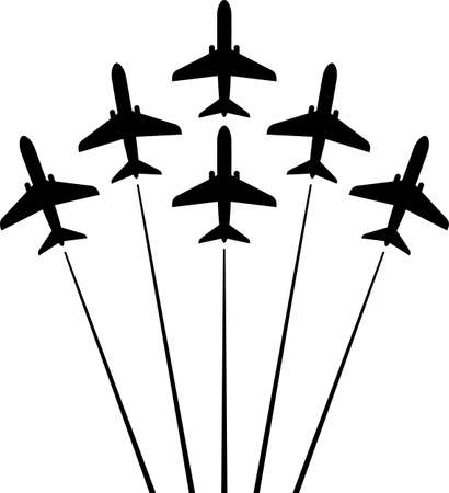 Airplane Flying Formation, Air Show Display, The Disciplined Flight Art Illustration.