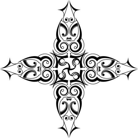 Cross illustration with curve and swirls design.