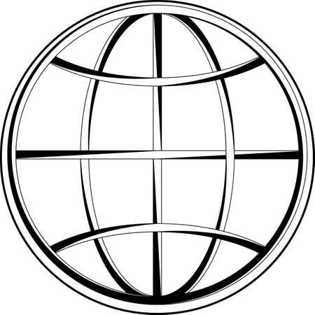 Globe Icon Calligraphic Vector Art Illustration
