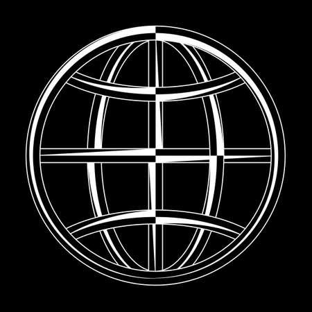 Globe Icon Calligraphic Art Illustration.