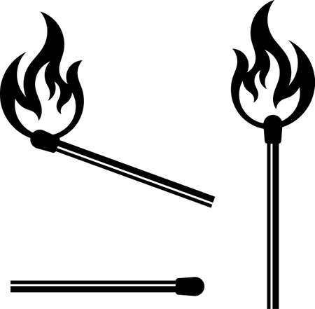 Lit Matchstick vector illustration set