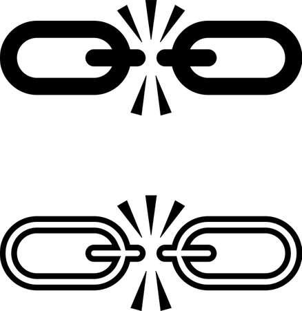 Broken Link Icon, Broken Chain Link Design Vector Art Illustration Illustration