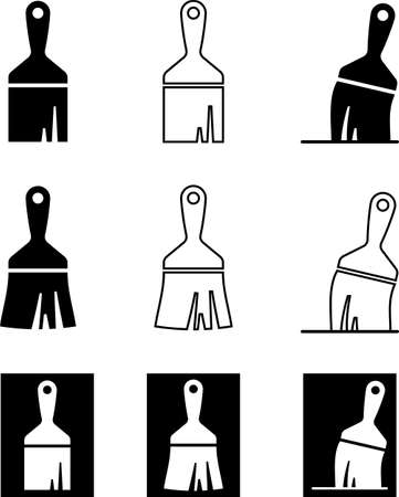 Paint Brush Icon Collection Vector Art Illustration.