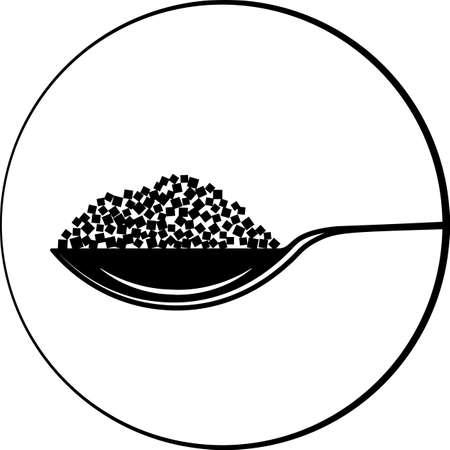 Spoonful Of Sugar Cube Icon Vector Art Illustration