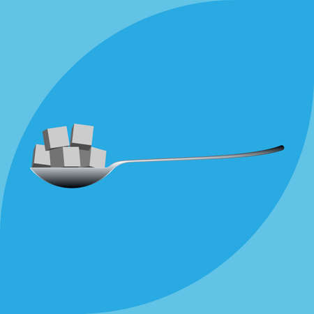 Spoonful Of Sugar Cube Vector Art Illustration