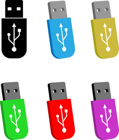 Usb Flash Drive Icon Vector Art Illustration Çizim