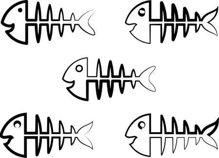 Fish Bone Icon Design Vector Art Illustration Illustration