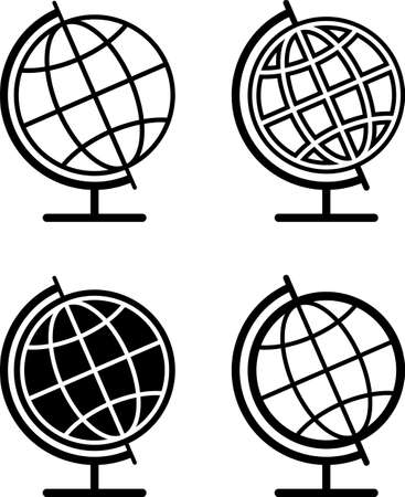 Globe Icon Collection in black Illustration 일러스트