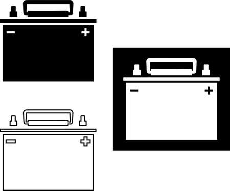 Car Battery Icon Collection on black Illustration