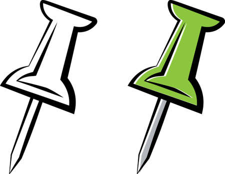 Drawing Pin Icon on black and green Illustration