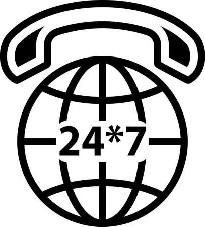 International Phone Support Icon, 247 icon on a world icon on black Illustration