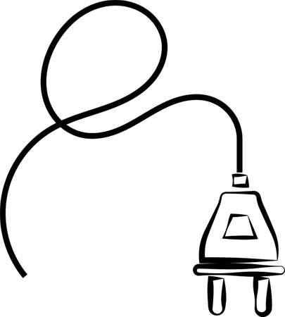 Power Plug With Wire Icon on black illustration Illustration