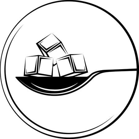 Spoonful Of Sugar Cube Icon on black Art Illustration Vettoriali