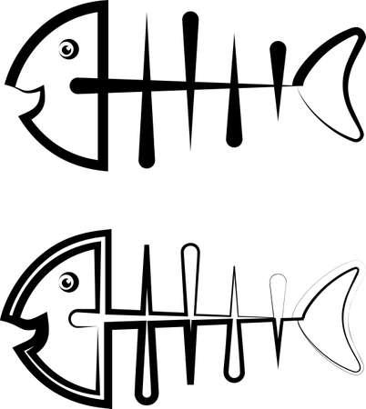 Fish Bone Icon Design Vector Art Illustration