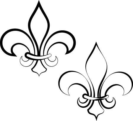Fleur De Lis Calligraphic, Fleur-De-Lys Or Flower-De-Luce, The Decorative Stylized Lily Vector Art Illustration
