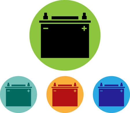Car battery icon, design vector art illustration.