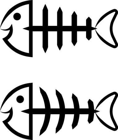 Fish Bone Icon Design Vector Art Illustration Vektorové ilustrace