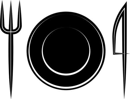 Fork dish knife icon, restaurant menu design vector art illustration. Ilustração