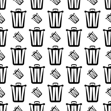 Trash Can Icon Seamless Pattern Vector Art Illustration Vettoriali