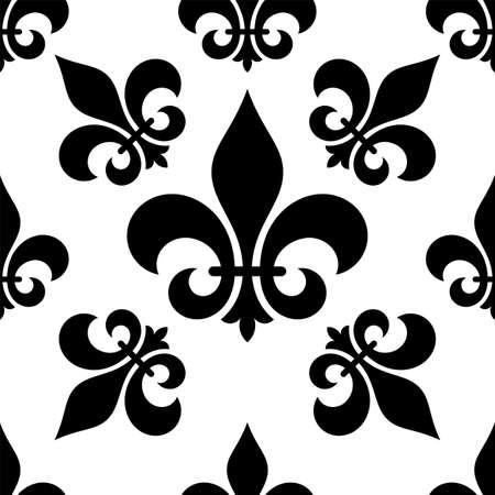 Fleur De Lis Seamless Pattern, Fleur-De-Lys Or Flower-De-Luce, The Decorative Stylized Lily Vector Art Illustration Illusztráció